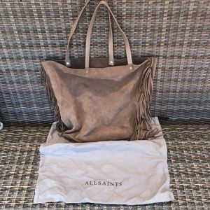 All Saints fringe leather tote